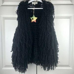 Tres Chic Womens Black Shaggy Fringe Vest Boho S